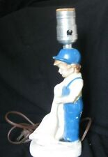 Vintage Childrens Nursery Lamp Boy in Blue & Goose Shows Wear Doesn't Work #1119