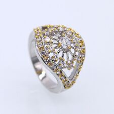 Fashion Jewelry Clear Crystal CZ Yellow/White Gold Plated Crystal Ring Size 8