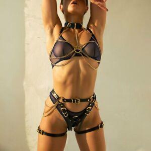 Women Sexy Leather Body Harness Garter Sets Suspenders Bondage Belt Chain Corset