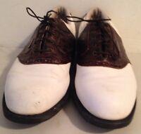 FootJoy DryJoys Men's Size 12 White Brown Saddle Golf Shoes Style# 53558