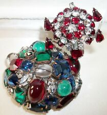 Schreiner NY brooch unmarked Turtle pin & Art Glass Cabochon Fur Clip LoT of 2