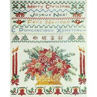 MERRY CHRISTMAS SAMPLER Vintage Stamped Cross Stitch Kit Poinsettias Candles