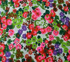 Mod Floral Logantex Original 3 Yards Fabric Retro Bright Flowers Sew Craft Vtg