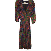 DIANE FREIS VTG 80's Georgette Ruffled Multi Print Lined Midi Dress Womens SZ M