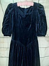 Vintage1980s  blue   Velvet    victorian  style long    Party Dress UK 8