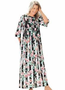 AmeriMark Womens Caftan Muu Muu Lounger Dress Pleated Zipper Front with Pockets
