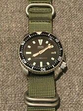 Seiko 7002-7000 Black Vintage Slim Turtle Men's Diver Watch Original Patina