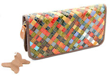 28c6974497bab Unikat Patchwork Geldbörse XXL lang groß Brieftasche Damen echtes Leder  WOOD BAG