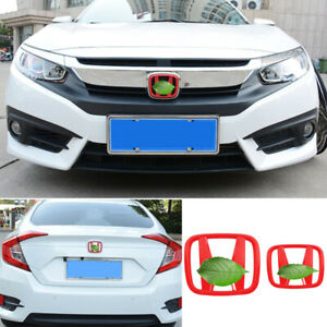 Fit for Honda Civic 2016-2021 Glossy Red Front Rear Grille Logo Emblem Badge 2pc