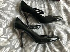 Oasis Black Patent Baby Jane With Silver Heel Shoes - Size 5 Used