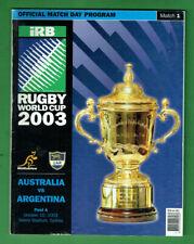 #Kk. Rugby Union World Cup Program - 10/10 2003, Australia V Argentina