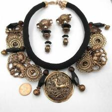 Statements Amy Kahn Russell (AKR) Medallion Bronze Necklace & Clip Earrings Set