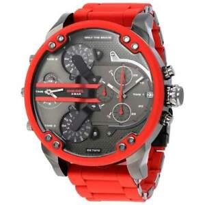 DIESEL Mr Daddy 2.0 Gunmetal Dial Red Silicone Chronograph Men's Watch DZ7370