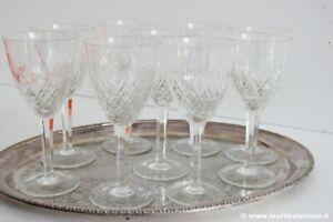 SET DI NOVE BICCHIERI VINTAGE CALICE IN CRISTALLO h 17 - 9 ITALIAN WATER GLASSES