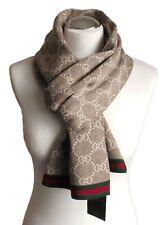 GUCCI Herren Damen Schal 100% Wolle Neu beige 23x180 Scarf Shawl Sciarpa