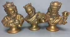 """RARE! Department 56 Large 8-1/2"""" Busts - 3 Kings / Wise Men / Magi, Gold Gilded"""
