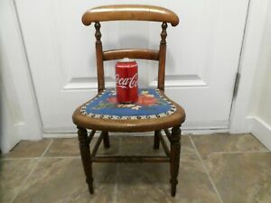 "VINTAGE / ANTIQUE CHILD'S SIZE CHAIR WOODEN WITH TAPESTRY SEAT 23"" TALL"
