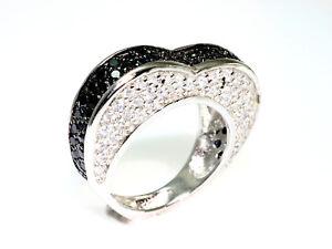 925 Silber Ring Herzring mit  80 Zirkonia Steinen rhodiniert  Grösse  56