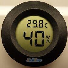 New Digital Cigar Humidor Hygrometer Thermometer Temperature Round Black Gauge