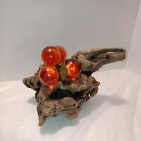 Vintage Large Orange Grape Cluster Lucite Glass On Driftwood Mid Century
