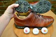 """New listing MEN'S *ADIDAS* """"CLIMAPROOF"""" LEATHER SOFT SPIKE GOLF SHOES-SZ 13 M-COLOR BROWN-"""