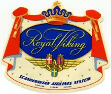SCANDINAVIAN AIRLINES / SAS ~ROYAL VIKING~ Vibrant DIE-CUT Luggage Label, 1955