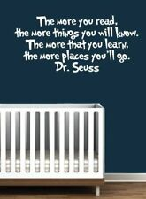 Dr.Seuss 'MORE READ MORE KNOW' White Vinyl Words Wall Stickers Decor Wall Decals