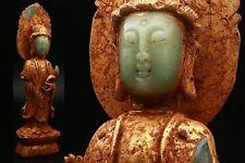 Chinese Old Guanyin Buddha Stone Statue / W 11× D 8× H 38 [cm]