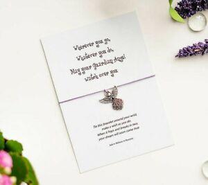 Guardian Angel wish string bracelet, Inspirational Quote Bracelet, Angel Charm