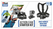 TRUST URBAN 21231 ACTION CAM KIT WITH CHEST HARNESS, HEAD STRAP & CLIP MOUNT