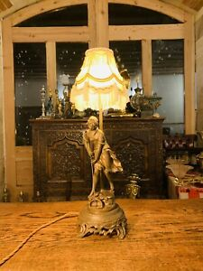 "Bronze Statue By 'Auguste Moreau' Antique Table Lamp Of ""Young Peasant Girl"""