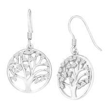 Tree of Love Drop Earrings With Cubic Zirconia in Sterling Silver