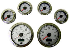 6 Gauge set, Speedo,Tacho (8KRPM),Oil,Temp,Fuel,Volt, white/chrome, 001WC
