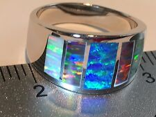 9.5 Men's Window Band Blue RED BLACK FIRE Opal Ring Sterling Silver 925 T UK