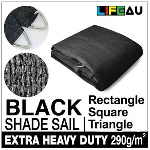 Extra Heavy Duty BLACK Shade Sail 290gsm Rectangle Square Triangle
