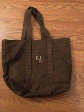 Ralph Lauren Handbag Tote Shoulder Bag Nylon RLL Logo Brown Purse Casual