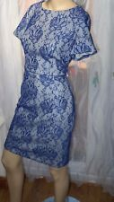 AG NEW LOOK 10uk  FLORAL BLUE LACE WHITE LINING PENCIL DRESS BODYCON PARTY xmas