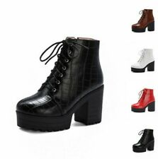 Women Punk Shoes Lace-up Block High Heel Platform Ankle Knight Boots Outdoor D