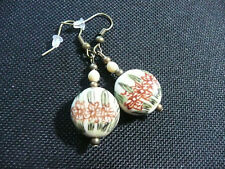 Vintage Art Deco Hand Painted Floral & Caligraphy Ceramic Long Earrings Boho