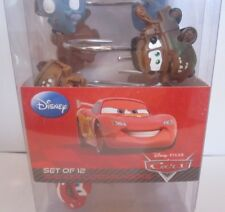 1 pack of 12 hooks Shower Curtain Hooks Disney Cars blue brown red