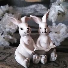 Figur Rabbit Hase Sitz Nostalgie Dekoration Osterhase Weiß Shabby Osterdeko Deko