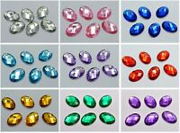 100 Flatback Acrylic Rhinestone Oval Gem Beads 13X18mm No Hole Pick Your Color