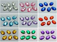 100 Flatback Acrylic Rhinestone Oval Gem Beads 13X18mm No Hole Pick Your Color