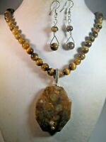 925 S/S handcrafted Tiger eye necklace, earrings,Octangon fossil coral pendant