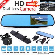 4.3'' 1080P Car Rearview Mirror DVR Dual Lens Video Dash Cam Camera Night Vision