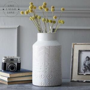 Large Whitewash Patterned Stoneware Vase