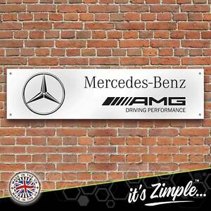 Mercedes Benz AMG Banner Garage Workshop Sign Printed PVC Trackside Display