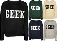 Womens New Geek Print Ladies Long Sleeves Sweatshirt Pullover Jumper Sweater Top