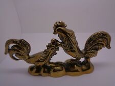 More details for vintage brass cockerels chickens  paperweight desk item