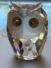 Swarovski Crystal LARGE Owl With Green Eyes